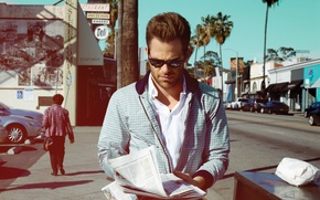 Picture glasses, actor, male, chris pine