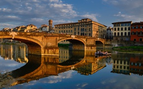Picture bridge, reflection, river, Italy, Florence, Arno, Santa Trinita