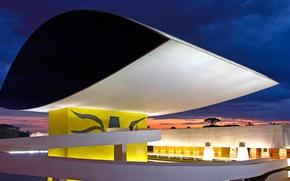 Picture night, lights, Museum, Brazil, Curitiba, Oscar Niemeyer, Paraná
