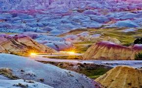 Picture road, mountains, USA, Badlands National Park, South Dakota, lights headlight