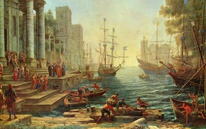 Picture picture, painting, painting, Claude Lorrain, 1641, Seaport with the Embarkation of St.Ursula