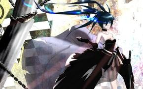Picture girl, weapons, glass, katana, anime, art, chain, black rock shooter, insane black rock shooter, Mato …