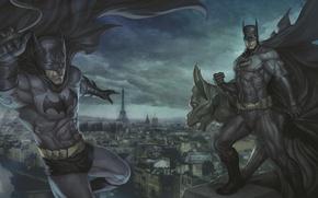 Picture roof, batman, Paris, Batman, cloak, dc comics, artgerm (stanley lau), gargoyle