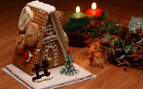Picture new year, Christmas, candles, sweets, house