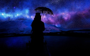 Picture water, girl, stars, mountains, night, lights, The sky, hat, umbrella, black, pierce