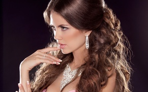 Picture girl, face, background, hair, hand, earrings, necklace, makeup, dress, ring, profile, decoration
