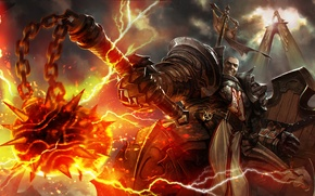 Wallpaper diablo 3, Crusader, Diablo 3: Reaper of Souls, reaper of souls, morgenstern, fire