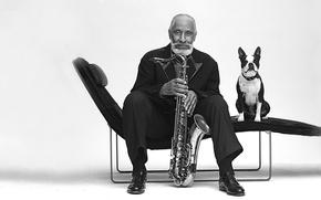 Picture jazz, saxophone, a great musician, Sonny Rollins, Sonny Rollins, jazzman