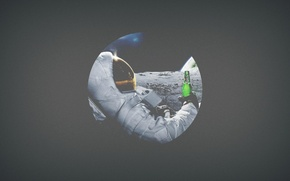 Picture space, the moon, beer, astronaut