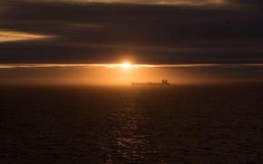 Picture sea, the sky, the sun, landscape, sunset, tanker
