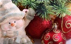 Wallpaper macro, holiday, balls, patterns, toys, new year, spruce, snowman, new year, needles, Christmas