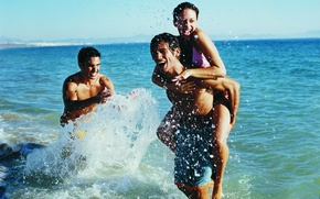 Picture sea, water, girl, squirt, guys