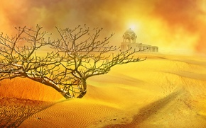 Picture sand, the sun, desert, Bush, temple, sand storm