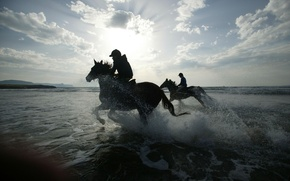 Wallpaper sea, beach, drops, squirt, nature, photo, background, Wallpaper, horse, riders, image