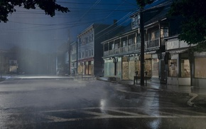 Picture rain, night, street, town