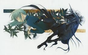 Picture black, plant, mane, unicorn, guy, art, closed eyes, unicorn, You Shiina, Tsu want to he …