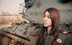 Picture girl, face, tank, form