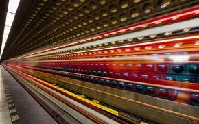 Picture light, metro, long exposure, prague, light trails