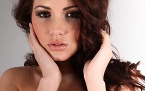 Picture eyes, look, girl, model, hair, hands, brown hair, Sabine Emelyanov, Sabine Jemeljanova