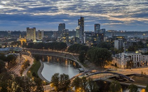 Picture bridge, river, building, night city, Lithuania, Vilnius, the Neris river, The bridge of king Mindaugas, …