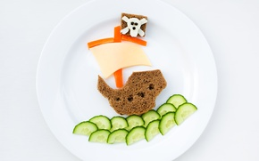 Picture creative, food, Breakfast, cheese, cucumber, plate, bread, pepper