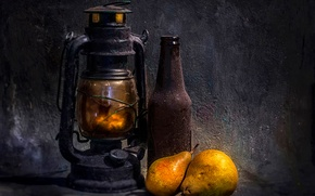 Picture bottle, lamp, dust, still life, Two pears
