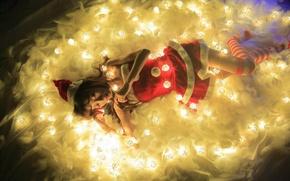 Picture girl, light, lights, holiday, lies, Asian, garland