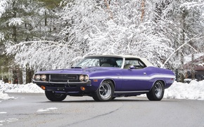 Wallpaper snow, background, Dodge, Dodge, Challenger, 1970, Muscle car, Convertible, Muscle car, R T, 440, Chelenzher, ...