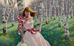 Picture forest, girl, flowers, spring, birch, painting, Arthur Saron Sarnoff, pink dress, Birch Forest