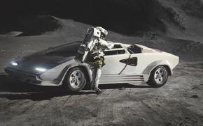 Wallpaper Moon, Lamborghini, Countach, Painting, Spaceman, Сanvas