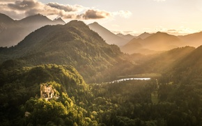Picture forest, mountains, castle, hills, valley