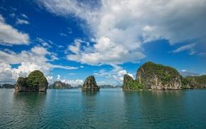 Picture sea, the sky, clouds, rocks, island, Vietnam