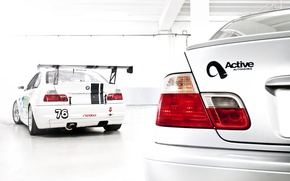 Picture white, BMW, BMW, white, E46, race car, tail lights