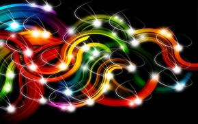 Picture line, lights, strip, curls, colored, black background