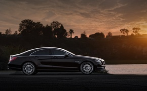 Picture the evening, mercedes, black, Mercedes, amg, cls