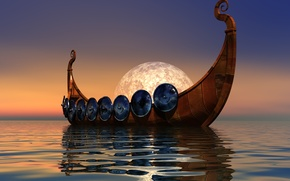 Wallpaper sea, the sky, ship, Vikings