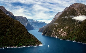 Picture clouds, mountains, river, view, boat, j