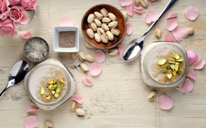 Picture nuts, dessert, sweet, yogurt