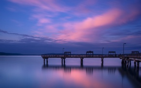Picture the sky, water, clouds, the city, surface, the evening, pier, port, Bay, USA, twilight, blue, …