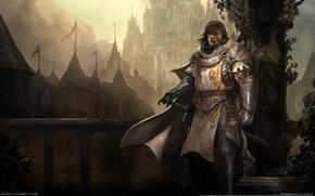 Picture bridge, fog, weapons, castle, sword, armor, warrior, ladder, railings, knight, cloak, game wallpapers, Guild wars ...