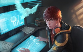 Picture look, bird, headphones, art, glasses, male, monitor, guy