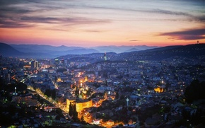 Picture the sky, sunset, mountains, sky, sunset, Bosnia and Herzegovina, Bosnia and Herzegovina, The Balkans, the …