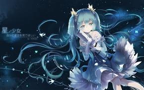 Picture girl, smile, anime, art, vocaloid, hatsune miku, telescope, asahi kuroi