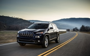 Picture road, trees, markup, hills, car, Jeep Cherokee. SUV