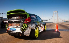 Picture Ford, The sky, Auto, Bridge, Machine, Ford, Day, Ken Block, Rally, Fiesta, Fiesta, Start