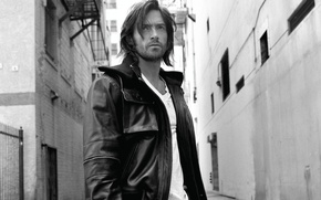 Picture man, look, leather jacket, white t-shirt, actor, hair, people, male, black and white photo, actor, ...