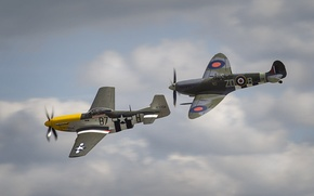 Picture Mustang, war, fighters, P-51, Spitfire, North American, world, Second, times