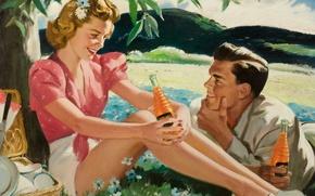 Picture figure, painting, Illustrator, 1889-1960), romantic and love illustration, CHARLES GATES SHELDON (American