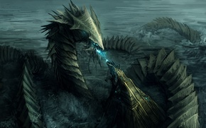 Picture sea, wave, magic, dragon, monster, art, ladder, tail, steps