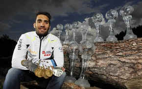 Picture biathlon, medals, cups, Martin Fourcade, France